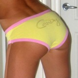 Cute teen shows off her amazing tight round perfect ass in yellow panties